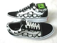 Vans Womens Old Skool Glow Skulls Canvas Suede Black White Skate shoes Size 7