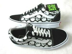 Vans Men's Old Skool Glow Skulls Canvas Suede Black White Skate shoes Size 9 NIB