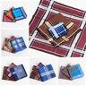 3PCS Men Cotton Handkerchiefs Plaids Hanky Pocket Square Business New 43*43CM