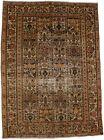 Birds & Garden Design Handmade 7X10 Antique Oriental Rug Farmhouse Decor Carpet