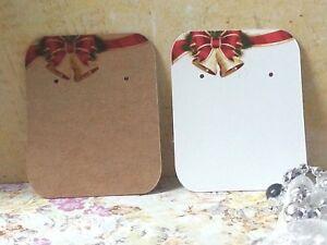 10/50/100  Earring Display Cards Christmas Jewellery Studs - Kraft Brown/White