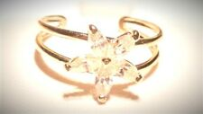Cubic Zirconia Flower Toe Ring 10K Pure Solid Gold Adjustable