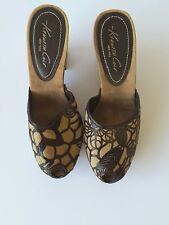 Kenneth Cole women's clogs brown floral burlap heels shoes size 8