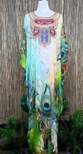 Plus Size Long Peacock Sheer Embellished Kaftan Digital Printed Size 12-14-16