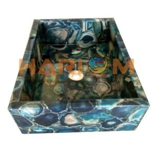 "20""x15""x6"" Blue Agate Stone Rectangle Wash Basin Sink Kitchen Decorative A110"