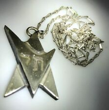 """Kim Craftsman Sterling Silver  Star of David with Chai Pendant 18""""chain"""