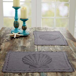 "VHC Brands Sandy Farmhouse Coastal Grey Burlap Seashell Placemat Set of 6 12x18"""
