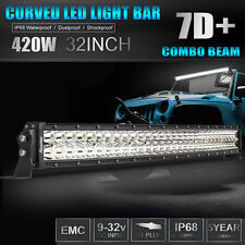 32Inch 7D+ 420W CURVED LED WORK LIGHT BAR COMBO SPOT FLOOD FOR JEEP FORD SUV 30""