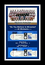 1980 USA MENS OLYMPIC HOCKEY GOLD MEDAL MIRACLE ON ICE MATTED PHOTO OF TEAM &TIX
