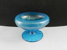 """Fenton Stretch Glass Cupped Comport #643 Celeste Blue 5"""" D ca 1917"""