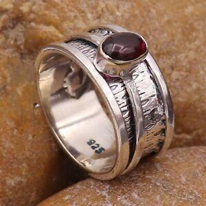 Garnet Gemstone Solid 925 Sterling Silver Spinner Meditation Ring GESR330I