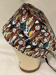 Men/Women Surgical Scrub Cap Jack and Sally Nightmare Before Christmas (Lined)