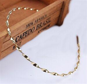 Schmaler Haarreif  Haarband Kordeldesign Gold oder Silber - EDEL