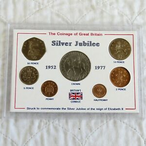 1977 SILVER JUBILEE 7 COIN UNCIRCULATED SET WITH CROWN - cased