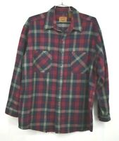 St Johns Bay Men Red Plaid Flannel Curved Hem Long Sleeve Button Front Shirt XLT