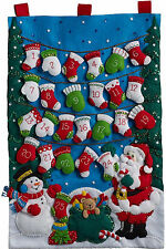 Felt Embroidery Kit ~ Plaid Mittens and Stockings Advent Calendar #86735