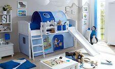 Lit mezzanine avec toboggan EKKI Pin massif teinté blanc tissus Pirate Bleu clai