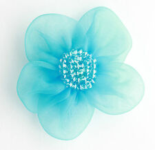 """5 X Large Organza Flowers Sew On Appliques Size: 2""""  Colour: Turquoise  #2"""