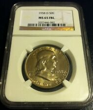 1958 D Franklin Half NGC MS 65 FBL GEM BU Full Bell lines! Mint Set Toned!