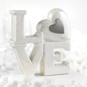 Pearlized Porcelain LOVE with Silver or Gold Heart Wedding Cake Topper