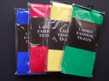 Plain coloured opaque tights, red, green, yellow, blue.