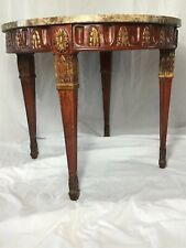 1 Fine Antique French Regency Style Round Marble Top Carved Centre Console Table