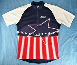 LOUIS GARNEAU Red, White, Blue American Stars & Stripes S/S Cycling Jersey XLRG