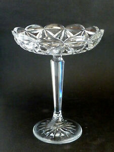 Tall Vintage CUT CRYSTAL Heavy quality lead glass COMPORT TAZZA DISPLAY STUNNING
