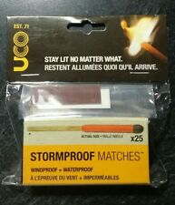 25ct UCO STORM PROOF MATCHES 15 Sec. Burn Windproof Waterproof 2 Strikers