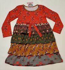 Jelly the Pug Dress Tribal Brook Knit Tiered Ruffle Girl sz 10 New Fall Gray NWT