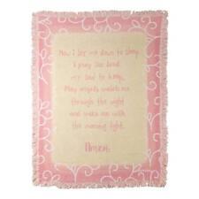 Girl Lay Me Down Prayer Pink 36 x 46 All Cotton Fringe Trim Blanket Throw