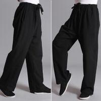 Men Chinese Tai Chi Trousers Gym Kung Fu Pants Martial Arts Sports Black Retro