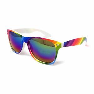Rainbow Sunglasses Mens Ladies Womens Festival Mirrored Lens Classic Pride LGBT