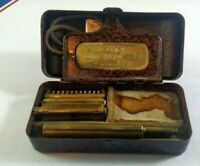 Vintage Antique Valet Auto Strop Safety Razor Kit With Case & Leather Strap Gold