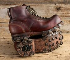 Vintage Wwii Swiss Military Leather Hobnail Boots/Ski Boots Us Size 11