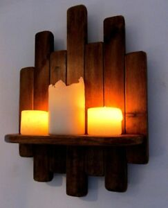34CM RECLAIMED RUSTIC WOOD FLOATING SHELF / LED CANDLE HOLDER WALL SCONCE