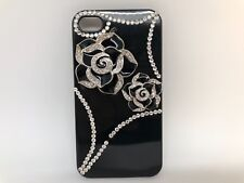 FOR IPHONE 4/4S CASE LUXURY BLING CRYSTAL DIAMOND 3D COVER - silver flover