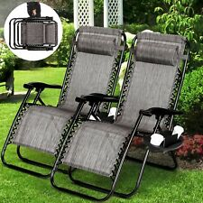 2 Sets Zero Gravity Folding Lounge Beach Chairs Tray Outdoor Recliner Brown/Gray