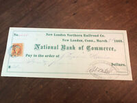 1868 New London Northern Railroad Co Bank Check New London CT REVENUE STAMP NICE
