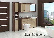 TOBACCO WALNUT / CAPPUCCINO GLOSS BATHROOM FITTED FURNITURE W/ WALL UNITS 2000MM