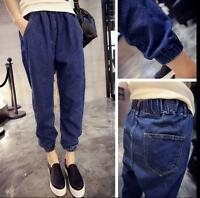Vintage Women Loose Casual High Waist Elastic Denim Jeans Long Pants Trousers