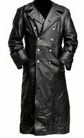 MENS GERMAN CLASSIC WW2 OFFICER MILITARY UNIFORM FAUX LEATHER TRENCH COAT 2XL