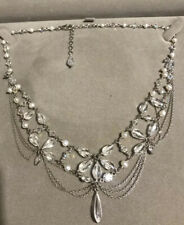 Fancy STERLING SILVER 925 Pearl And Glass Collar NECKLACE