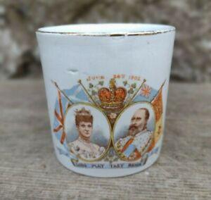 Antique c1902 King Edward VII Coronation Mug - Empire Porcelain Stoke-On-Trent
