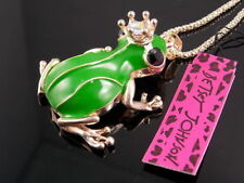 Betsey Johnson Crown frog prince Pendant Necklace Sweater chain charm NN22