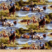 Wild Wings Scenics Ranchero Horse riding 100% cotton fabric by the yard