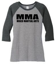 MMA Mixed Martial Arts Ladies 3/4-Slv Raglan Fighter BJJ Training Workout Z9