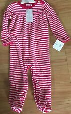 BNWT New Ralph Lauren Polo Long Sleeved Pink and White Striped Babygrow 9M 74cm