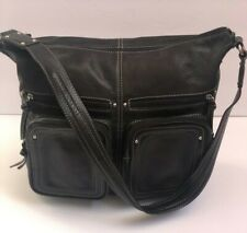 Tignanello Shoulderbag Genuine Leather Black Large Satchel Handbag Hobo Purse