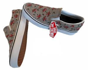 Vans Classic Slip On (Glen Plaid Floral) Canvas Shoes Sz 10.5 Women's NIB New ⭐️
